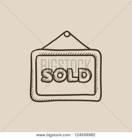 Sold placard sketch icon.