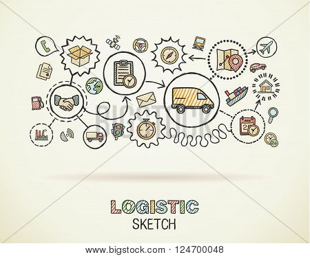 Logistic hand draw integrated icons set on paper. Colorful vector sketch infographic illustration. Connected doodle color pictogram, distribution, shipping, transport, services interactive concept