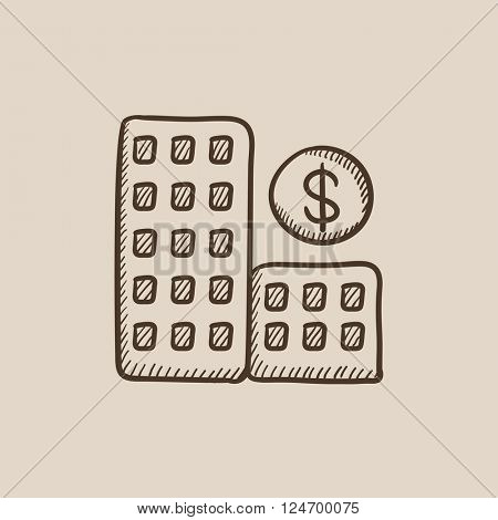 Condominium with dollar symbol sketch icon.