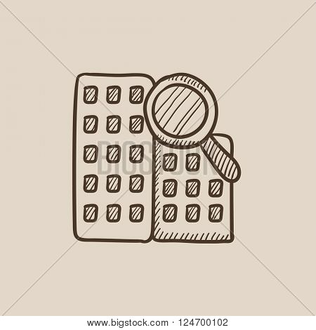 Condominium and magnifying glass sketch icon.