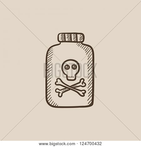 Bottle of poison sketch icon.