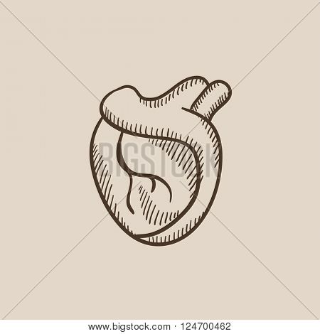 Heart sketch icon.