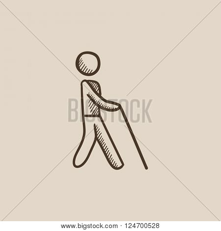 Blind man with stick sketch icon.