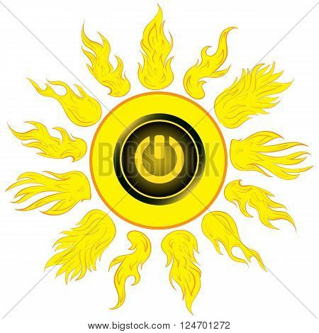Illustration the sun with the switching off inclusion button
