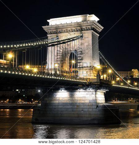 Budapest Hungary. Szechenyi Chain Bridge on the Danube river at night