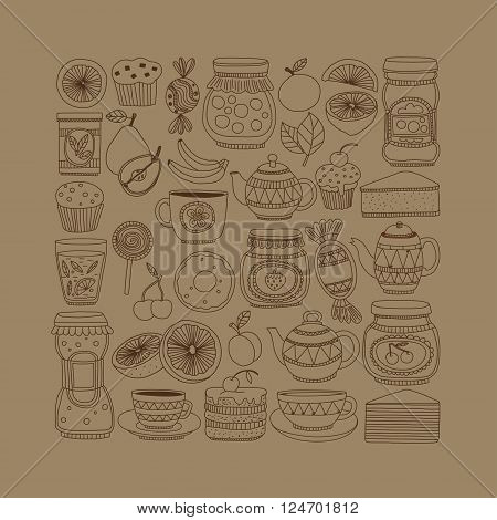 Set of coffee, tea, and food icons Doodle style Hand drawn pictures