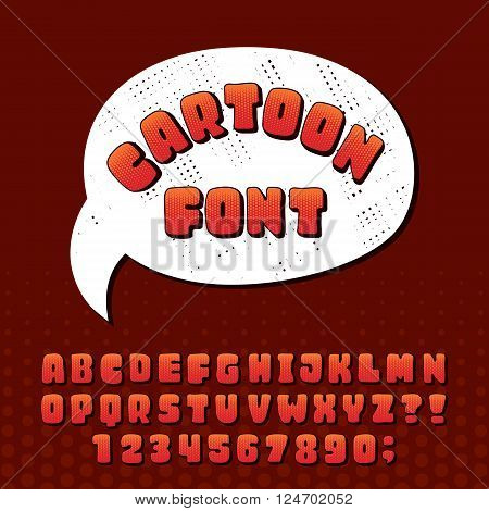 Cartoon alphabet vector font. Hand drawn letters and numbers. Stock vector typeset for your design.