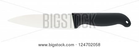 ceramic knife with black handle, isolated on white