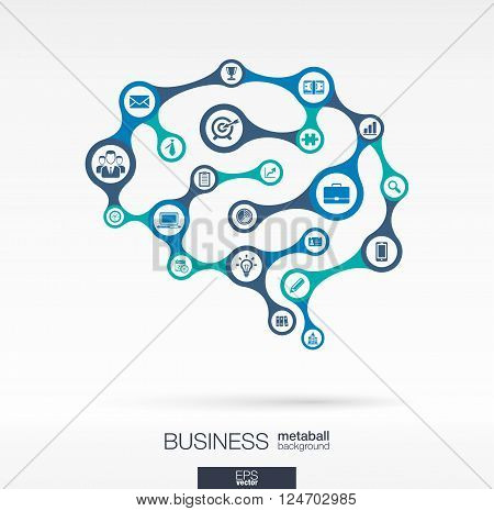 Metaball abstract background, connected circles, integrated flat icons. Brain concept for business, communication, marketing research, strategy Vector interactive illustration.