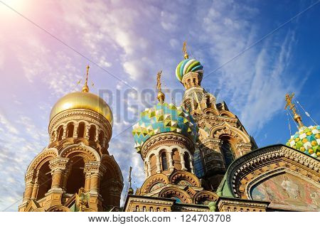 Domes of cathedral of Our Saviour on Spilled Blood - one of the most famous Orthodox cathedrals in St. Petersburg Russia