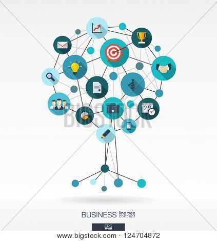 Abstract background with connected circles, integrated flat icons. Growth tree concept for business, communication, marketing research, strategy, mission, analytics. Vector interactive illustration.