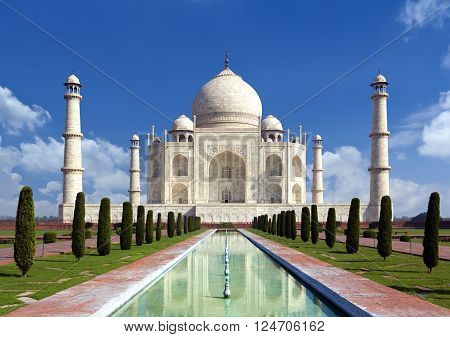 Taj mahal on a bright day in Agra India - A monument of love in clear blue sky