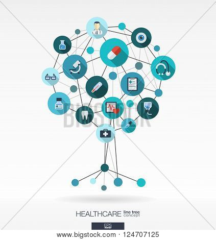 Abstract medicine background with lines, connected circles, integrated flat icons. Growth tree concept with medical, health, healthcare, thermometer and cross icon. Vector interactive illustration.