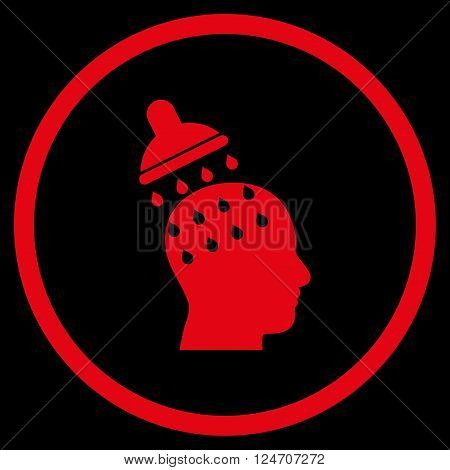 Brain Washing vector icon. Image style is a flat icon symbol inside a circle, red color, black background.