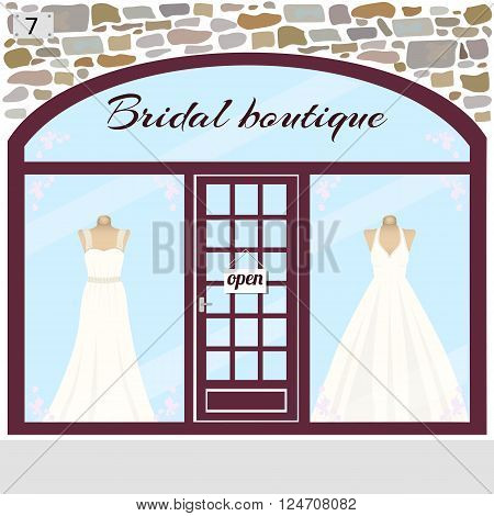 Wedding shop building facade of stone. Dummies in bridal dresses in the shop window.Vector illustration eps 10.