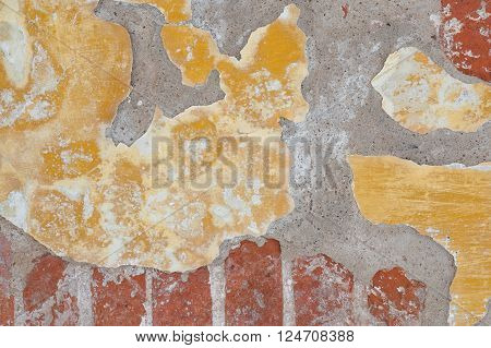 Flaked paint textured background of old wall