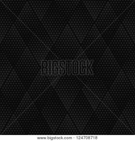 Vector dark gray geometric halftone seamless pattern. Retro pointillism vector seamless background. Vector old school design. Vector dark dotted texture