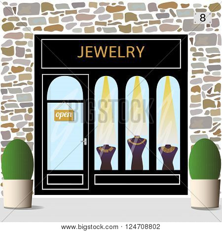 Jewelry shop building facade of stone. Dummies with golden necklaces in the shop window.Vector illustration eps 10.
