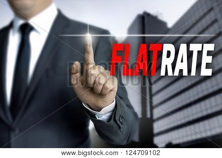flatrate touchscreen is operated by businessman background