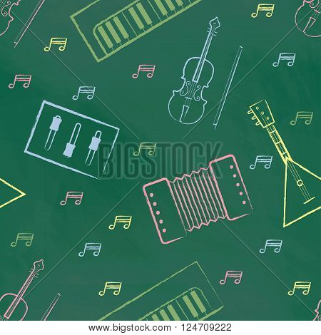 Seamless pattern green chalk board with color children's chalk drawings. Hand-drawn style. Seamless vector wallpaper with the image of musical instruments  piano, balalaika, mixer, violin bow, note