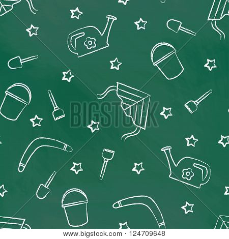 Seamless pattern green chalk board with white children's chalk drawings. Hand-drawn style. Seamless vector wallpaper with the image of kite flying, head, boomerang, star, bucket, shovel, rake