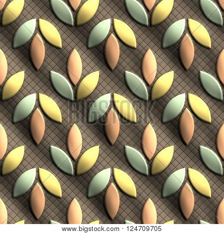 Plastic background tiles with embossed abstract ornament