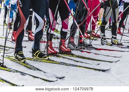 Kyshtym Russia - March 26 2016: group of skiers athletes on starting line during Championship on cross country skiing