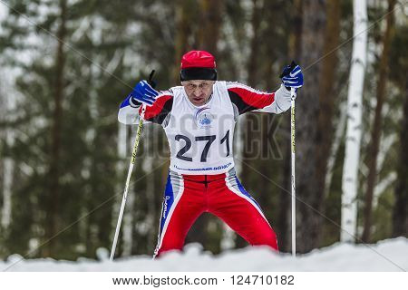 Kyshtym Russia - March 26 2016: old skier athlete men running through woods during Championship on cross country skiing