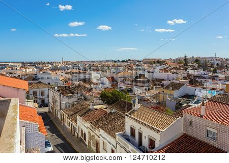 View streetscape Tavira. City in Portugal Algarve.