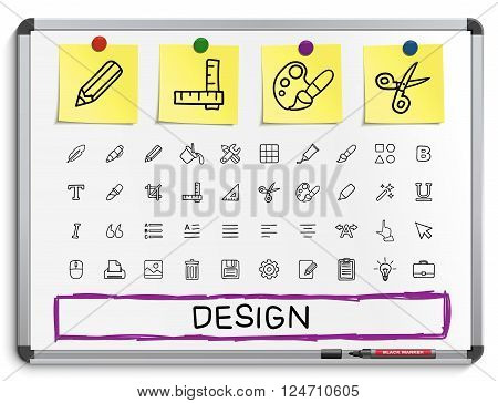 Design tools hand drawing line icons. Vector doodle pictogram set, sketch sign illustration on white marker board with paper stickers. palette, magic brush, pencil, pipette, bucket, clip, grid, bold.