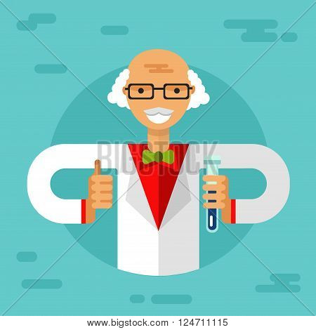 Vector flat style illustration of old men scientist in glasses with thumbs-up, flasks and making research. Chemistry laboratory research concept.