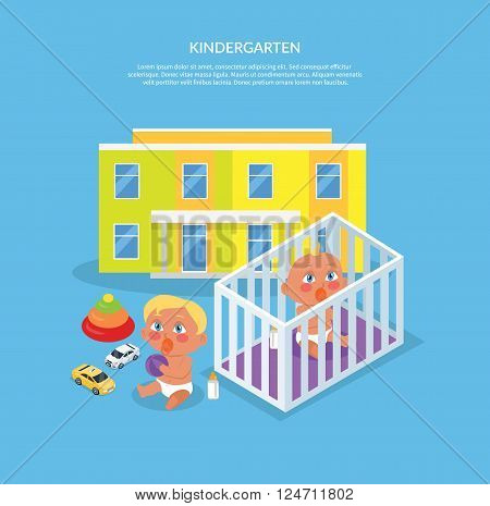 Kindergarten design flat banner. Preschool kids and kindergarten kids, kid education, girl and boy, child play, people preschooler, cartoon childhood, vector illustration