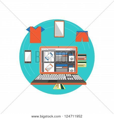Online shop page smart phone or clothes. Icon buy online, open laptop with a web page of internet shop with a large selection of phones. Payment by credit card via netbook. Vector illustration