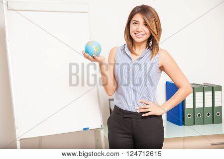Pretty English Teacher In A Classroom