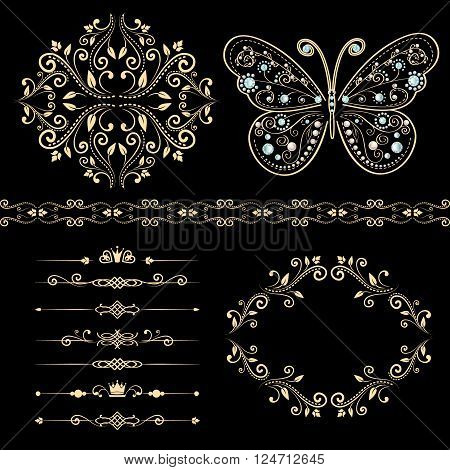 set of floral border, frame, dividers. with vintage butterfly with elegance ornament encrusted jewels. isolated on black background. vector illustration of luxury calligraphic design elements