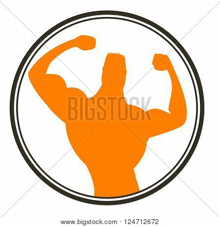 Strong man. Sportsman. Body Building Muscles. Vector icon.