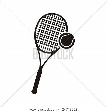 Monochrome black silhouettes racket and ball icon logo for tennis isolated on white background. Hobby activity sport game, combinated equipment racquet and ball symbol for tennis. Vector illustration