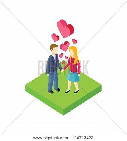 Isometric couple walk design flat. 3d people outdoor, together couple man and woman, young people walk, adult woman walking, friendship lover pair, walkway rest vector illustration