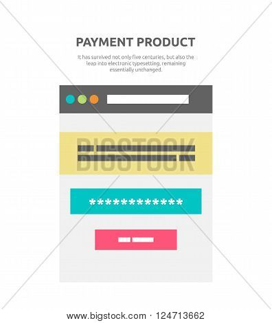 Payment product website element design. Website and business marketing, commerce web shop, payment online, finance buy, e-commerce payment internet, retail sale vector illustration
