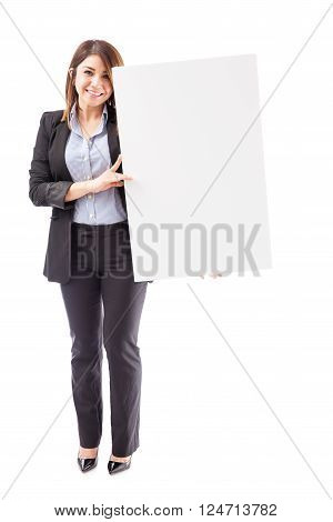 Cute Businesswoman With A Big Sign