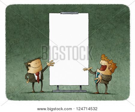 Two men talking about agenda while gesturing at white board