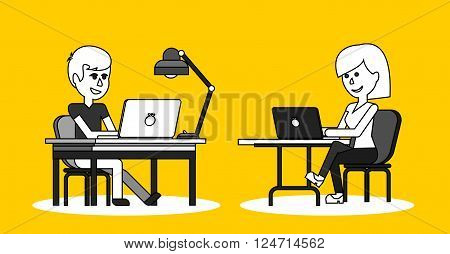 People work in office design flat. Business woman and man, computer worker, Office desk table and workplace. Guy girl sitting on chair at table in front of computer laptop monitor and shining lamp
