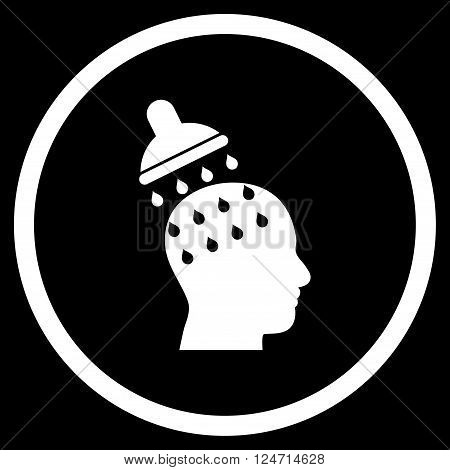 Brain Washing vector icon. Image style is a flat icon symbol inside a circle, white color, black background.