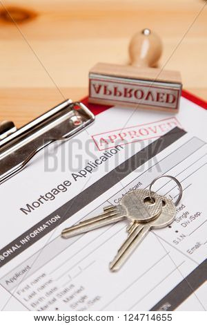 Mortgage application form and keys