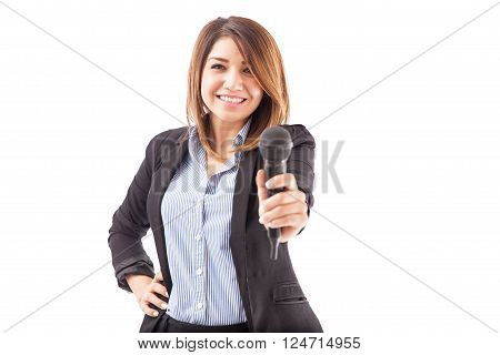Cute Businesswoman Inviting You To Talk