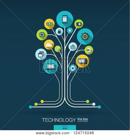 Abstract technology background with lines, connected circles, integrated flat icons. Growth tree concept with technology, cloud computing and router icons. Vector interactive illustration.