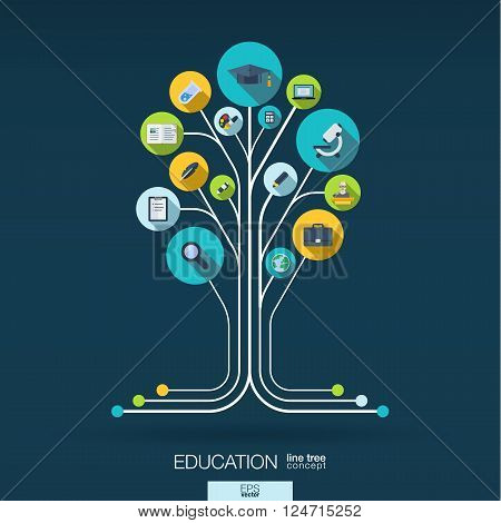 Abstract education background with lines, connected circles and integrated flat icons. Growth tree concept with school, science, geography, biology, microscope icon. Vector interactive illustration.
