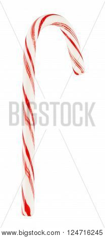striped mint hard candy cane, isolated on white background