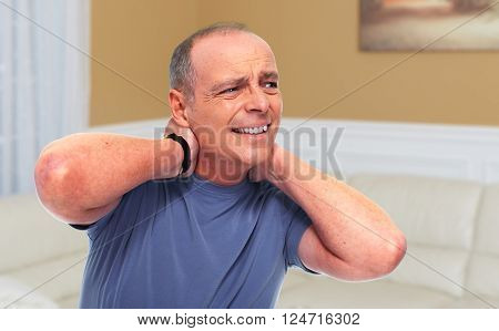 Senior man with a neck pain.