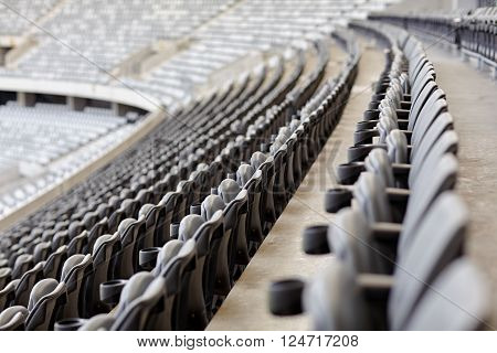 Abstract shot of rows of seating in a sports stadium